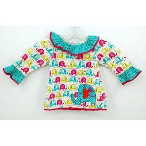 Rare Editions Baby Corduroy Elephant Top